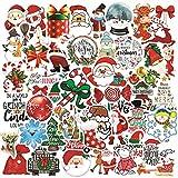 WYZNB Pegatinas navideñas para decoración de graffiti, maleta, portátil, casco, maleta de PVC, impermeables, 50 unidades