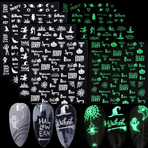 3D Halloween Nail Stickers Fluorescent Skull Witch Pumpkin Ghost Cross Spider Pattern Adhesive Nail Art Sticker Decals for Women Girls Kids Nail Art Decoration