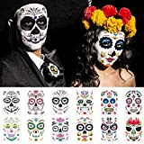 12 Sheets Day of the Dead Sugar Skull Temporary Face Tattoos, TailaiMei Halloween Makeup Stickers for Halloween Costume Apparel Cosplay Party
