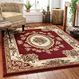 Pastoral Medallion Red French European Formal Traditional 5x7 (5'3' x 7'3') Area Rug Easy to Clean Stain Fade Resistant Shed Free Modern Contemporary Floral Thick Soft Plush Living Dining Room Rug