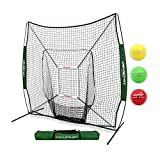 PowerNet DLX 2.0 System (Green) | 7x7 Baseball Hitting Net + Weighted Training Ball 3 Pack + Strike Zone | Swing Harder | Throw Faster | Build Pitch & Hit Specific Muscle Groups Pitching Accuracy
