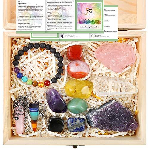 PP OPOUNT 13 Pieces Healing Crystals Set, Chakra Stones Kit...