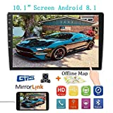 10.1Inch 2.5D HD Double Din Car Stereo Radio Receiver, Android 8.1 Touch Screen MP5 Multimedia, Support GPS Navigation Bluetooth FM Radio+4 Led Lights Rear View Camera&Dual Mirror Link
