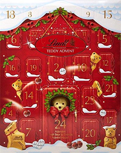 Lindt Teddy - Calendario dell'Avvento 24 sorprese assortite al cioccolato al latte, orsacchiotto, mini orsacchiotto, renna dorata, napoletani, tiglio, bucaneve, 250 g