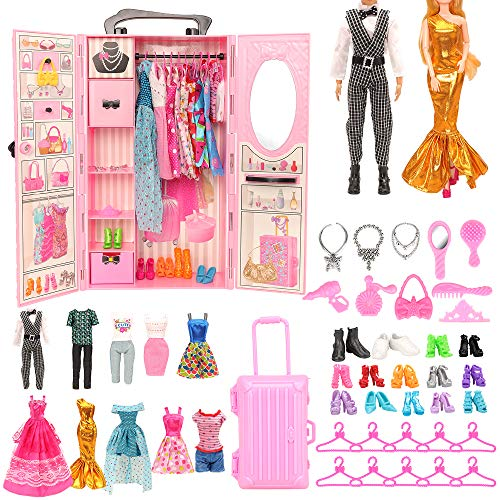 Miunana 44 Accessories: Armadio + 8 Abiti Vestiti + 10 PCS Scarpe per Bambola Ragazza + 2 Abiti + 2 PCS Scarpe per Bambola Ragazzo + Valigia + 10 Accessori + 10 Grucce
