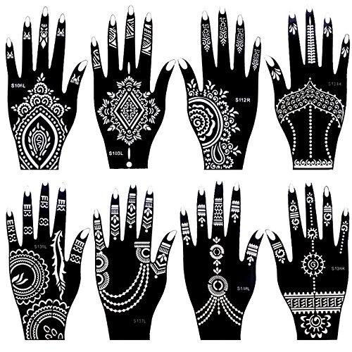 Xmasir Juego de 8 plantillas de tatuaje de henna india para