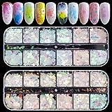 Ebanku 24 Couleurs Paillettes Ongles Holographiques Nail Art Flakes Glitter...