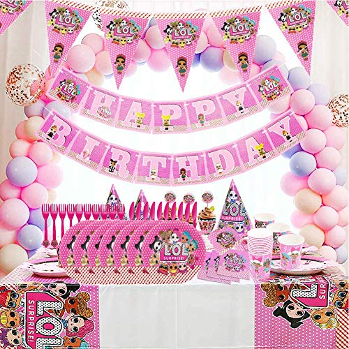 Image 5 - REYOK Party Supplies Set,78 Pcs Fournitures de Fête Vaisselle LOL Surprise Dolls,Enfants de Décoration Happy Birthday Party Vaisselle,Tasses Serviettes Nappe Papier Bannière-Servir 10 Invités