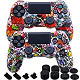 MXRC Silicone Rubber Cover Skin case Anti-Slip Water Transfer Customize Camouflage for PS4/SLIM/PRO Controller x 2(Street Art Pack) + FPS PRO Extra Height Thumb Grips x 8 + Dustproof Plug x 4
