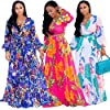 Nuofengkudu Womens Chiffon Deep V-Neck Printed Floral Maxi Dress Unique Loose Summer Boho Dresses High Waisted (Rose) XL #4