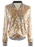 Anna-Kaci Womens Sequin Long Sleeve Front Zip Jacket with Ribbed Cuffs, Gold, X-Large