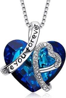 THWJSH Collar de mujer Colgante de cristal de zafiro Swarovski