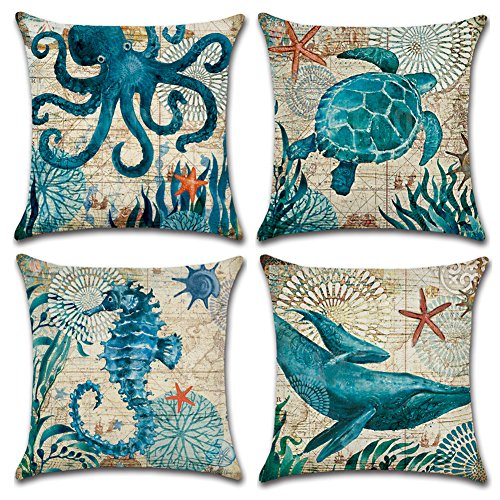 JOTOM Cushion Covers Square Waist Throw Pillow Case Cover for Outdoor Home Bed Sofa Car Decor 45 x 45cm, Set of 4 (Marine Animal 2) (Baby Product)