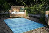 Fab Habitat Reversible Rugs | Indoor or Outdoor Use | Stain Resistant, Easy to Clean Weather Resistant Floor Mats | Cancun - Turquoise & Moss Green, 4' x 6'