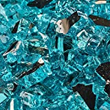 Tahitian Blue - Fire Glass for Indoor and Outdoor Fire Pits or Fireplaces | 10 Pounds | 1/4 Inch, Reflective
