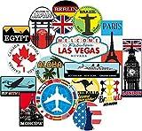 17 Bagage Autocollants valises étiquettes de Voyage Vintage rétro Vintage...