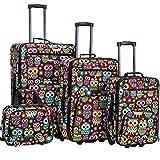 Rockland Jungle Softside Upright Luggage Set, Owl, 4-Piece (14/29/24/28)