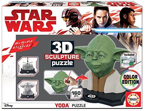 Educa - 3D Sculpture Puzzle Star Wars Yoda, Montar y pintar, Incluye pinturas y pincel, +6 años (17801)
