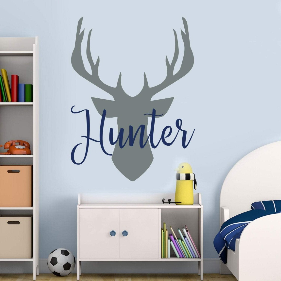 Amazon Com Name Wall Decal Antler Deer Decal Kids Room Decor Baby Boy Name Decal Woodland Decal Hunting Sticker Deer Nursery Decal Boy Decor 32 Inch In Width Home Kitchen