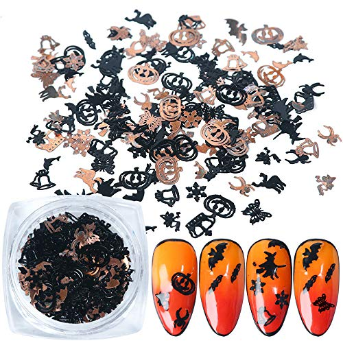 Halloween Nail Art Stickers Halloween Nail Decals Holographic 3D Nail Glitter Nightmare Before Christmas Nail Decals Pumpkin Nail Art Supplies Nail Sequins DIY Manicure Applique Nail Decorations 1 Box