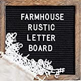Felt Letter Board with 10x10 Inch Rustic Wood Frame, Script Words, Precut Letters, Picture Hangers,...