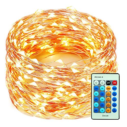 Decute 99 Feet 300 LEDs Copper Wire Christmas String Lights Dimmable...