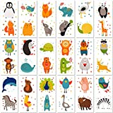PapaKit Cute Zoo Animals 36 Temporary Tattoos Set | 18 Individually Wrapped Sheets | Non-Toxic FDA Approved Ingredients Safe Removable | Boys Girls Children's Birthday Party Favor Supplies …