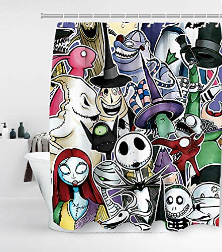 Disney Nightmare Before Christmas Shower Curtain with 12 Hooks Jack Skellington Halloween Decor Waterproof Washable and Durable Polyester Fabric Bathroom Set Decor Sets Washable 72 x 72 inches