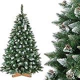 FairyTrees rbol de Navidad Artificial, Pino Verde Natural Cubierto de Nieve, PVC, con pias Naturales, Soporte de Madera, 180cm, FT04-180
