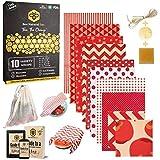 BeeNatural Lot de 10 emballages en cire d'abeille réutilisables écologiques pour cadeaux - Sac en maille en coton bio - Livre électronique gratuit - Sans déchets - Alternative sans film plastique