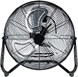Simple Deluxe 18 Inch 3-Speed High Velocity Heavy Duty Metal Industrial Floor Fans Oscillating Quiet for Home Commercial, Residential, and Greenhouse Use, Outdoor/Indoor, Black