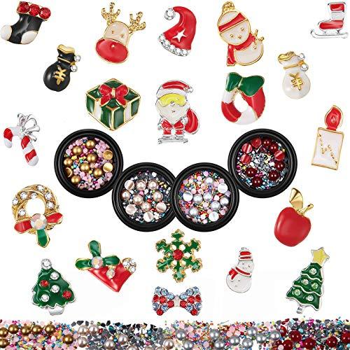 20 Pieces Christmas Nail Charm with 4 Boxes Nail Art Rhinestone, Christmas Nail Stud Diamond Bead 3D Metallic Nail Glitter Rhinestone Christmas Santa Reindeer Snowman Nail Supplies for DIY Nail Art