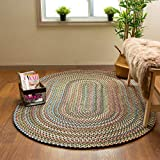 Super Area Rugs Roxbury American Made Braided Rug for Indoor Outdoor Spaces, Spruce Green / Natural Multi, 2' X 3' Oval