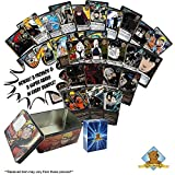 120 Assorted Naruto Collectible Cards with Rares - Foils - Promos - 3 Super Rares in Every Bundle! Comes in Empty Naruto Tin for Storage! Includes Golden Groundhog Deck Box!