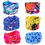 Vordas 6 Stück Headwear Bandanas - Multifunktionstuch Kinder Bandana Schal Elastische Halstücher für Yoga, Wandern, Reiten, Motorradfahren (Style 1)