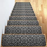 """Carpet Stair Treads Set of 13 Non Slip/Skid Rubber Runner Mats or Rug Tread – Indoor Outdoor Pet Dog Stair Treads Pads – Non-Slip Stairway Carpet Rugs (Gray) 8"""" x 30' Includes Adhesive Tape"""