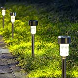 GIGALUMI Solar Pathway Lights 12 Pack, Stainless Steel IP44 Waterproof Auto On/Off Outdoor LED Pathway Landscape Solar Lights for Garden, Yard, Patio, Path and Walkway. (Cold White)…