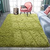 Pacapet Fluffy Area Rugs, Green Shag Rug for Bedroom, Plush Furry Rugs for Living Room, Fuzzy Carpet for Kid's Room, Nursery, Home Decor, 5 x 8 Feet
