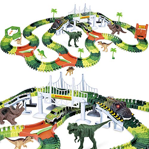 Dinosaur Track Toy Set 288 Piece, Dinosaur Car Race Track Toy with 264...