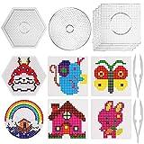SAVITA - Loisir Créatif - Perle Repasser 6 Plaques pour Perles à - 4 carrés, 1 Rond, 1 hexagone - avec 6 modèles de Papier et 2 dés Blancs