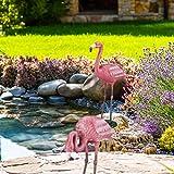 Relaxdays Dekofigur Flamingo, wetterfest, frostfest, Gusseisen, Innen und Außen, Gartendeko, HxBxT 56 x 35 x 18 cm, pink - 3