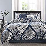 Madison Park Sateen Cotton Comforter Set-Traditional Luxe Design All Season Lightweight Bedding, Shams, Bedskirt, Decorative Pillows, Queen(90'x90'), Vienna, Damask Indigo 7 Piece