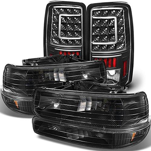 For 00-06 Chevy Suburban 1500 2500 Tahoe Black Headlights Lamp + C Shape LED Tail light Set
