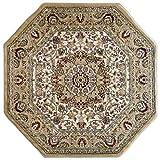 Traditional Octagon Area Rug Design Bellagio 401 Ivory (7 Feet 3 Inch x 7 Feet 3 Inch)