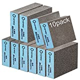 Onarway Sanding Sponges 10 Pack Wet and Dry Dual-use, Coarse and Fine Sanding Blocks - 60/80/100/120/180/220 Grits 6 Different Specifications, Washable and Reusable, Ideal for Wood Metal Polishing