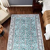 jinchan Persian Traditional Area Rug for Kitchen Floorcover Soft Floral Printed Indoor Low Pile Mat for Bedroom Living Room 3'x5'3' Turquoise