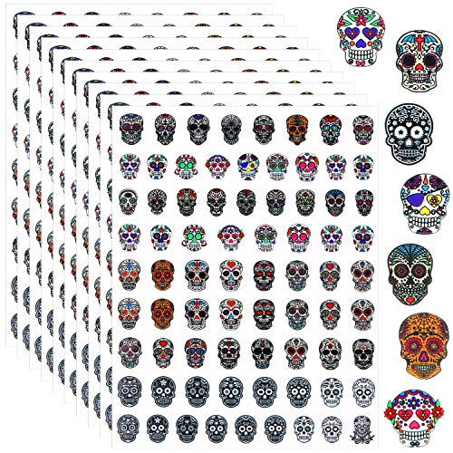 750 Pieces Skull Nail Art Stickers Dia de Los Muertos Mexican Day of The Dead Sticker Halloween Colorful Skull Adhesive Nail Decals Multi-Design Skull Pattern Manicure Stickers for Women Nail Decorati