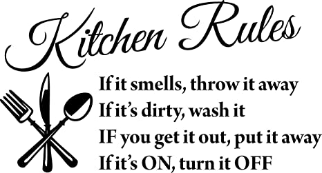Amazon Com Blinggo Black 22 X 13 Kitchen Rules Art Home Mural Decor Vinyl Wall Art Inspirational Quotes And Saying Home Decor Decal Sticker Steams Home Kitchen