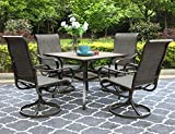 PHI VILLA Outdoor Dining Set for 4, 5 Pcs Patio Dining Table & Chair Set Clearance with 4 Swivel Dining Chairs & 1 Square 37'x 37' Umbrella Dining Table(1.57' Hole), for Outdoor Kitchen Lawn & Garden