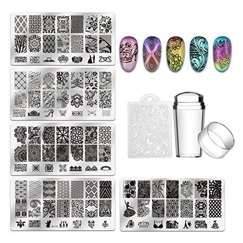 Biutee 5 pcs Placas Estampacion Uñas de Acero Inoxidable Nail Art Estampador de Uñas Profesional +...